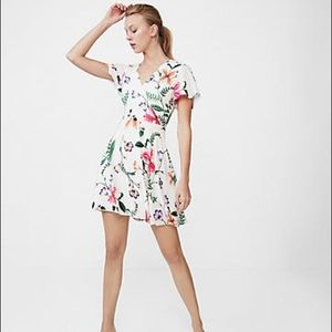 Express Floral Surplice Fit & Flare Dres, S NWT